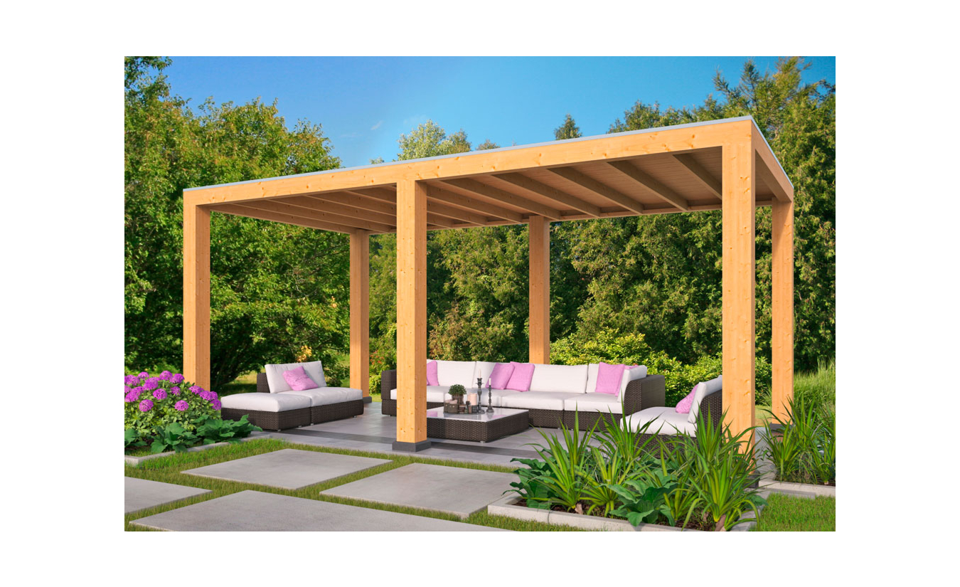 Overkapping Renesse Red Class Wood DHZ bouw 600x313cm
